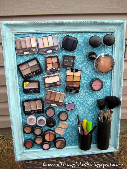 2.DIY MAGNETIC BOARD TO DECLUTTER THE MAKE UP via Simphome.com