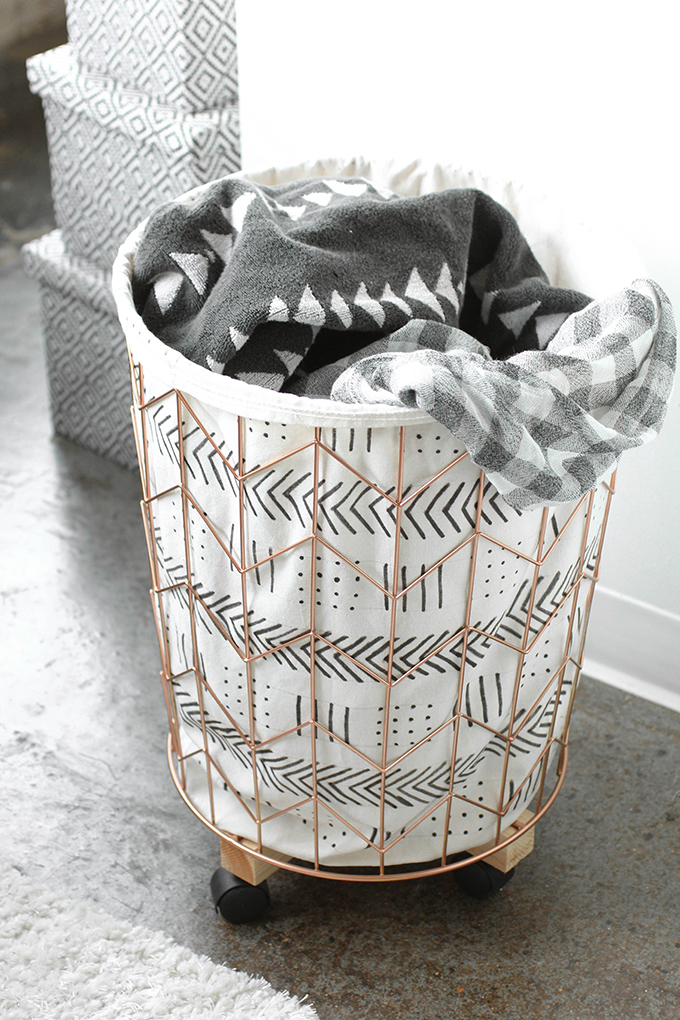 6.DIY MUDCLOTH PRINT COTTON CANVAS AND WIRE HAMPER PROJECT IDEA Via Simphome.com
