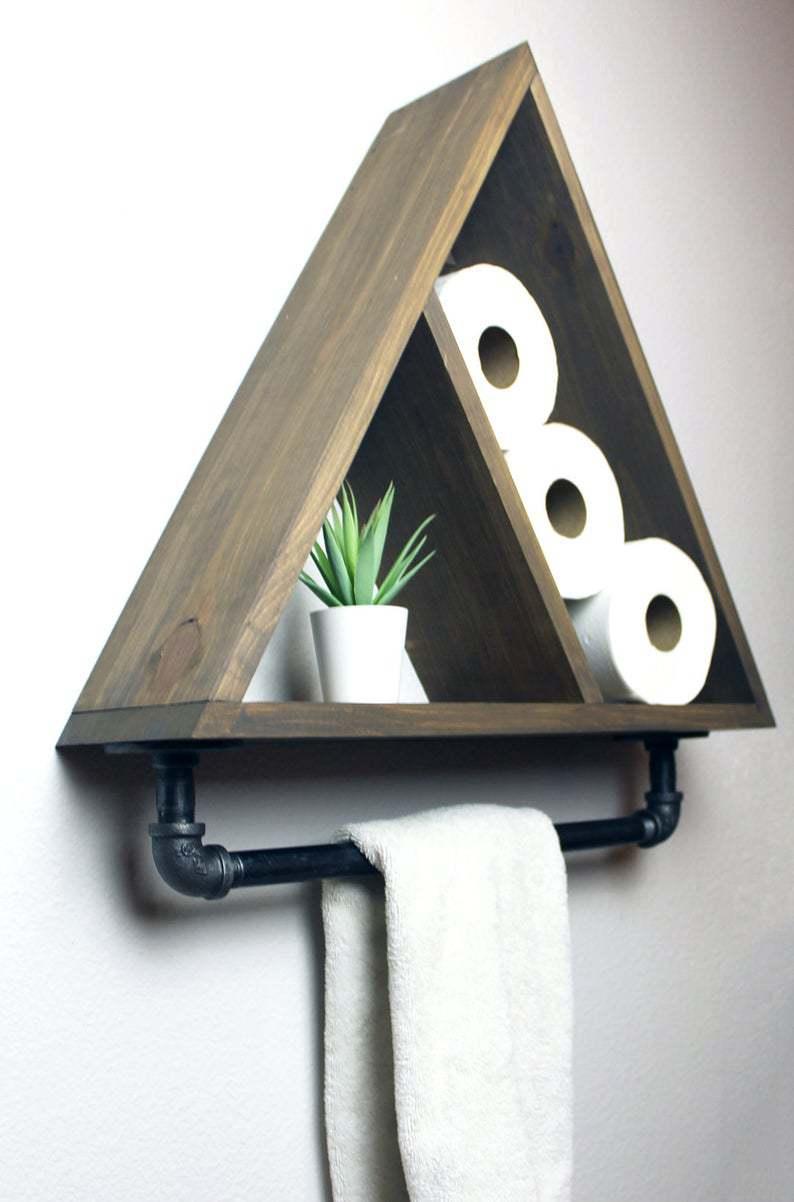 6.triangle shelf with industrial farmhouse towel bar by Simphome.com