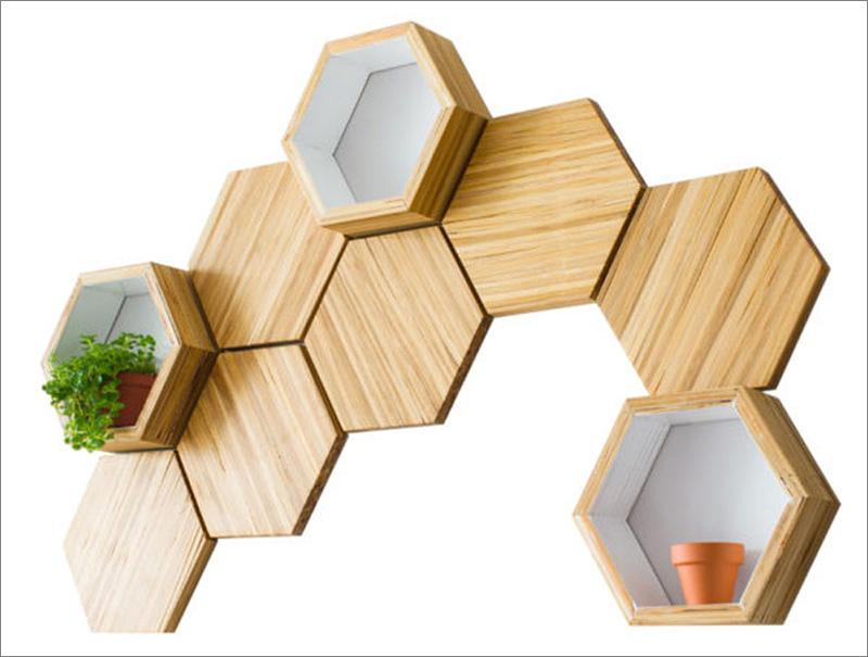7.Recycled Chopsticks Have Turned into Honeycomb Shelves via Simphome.com