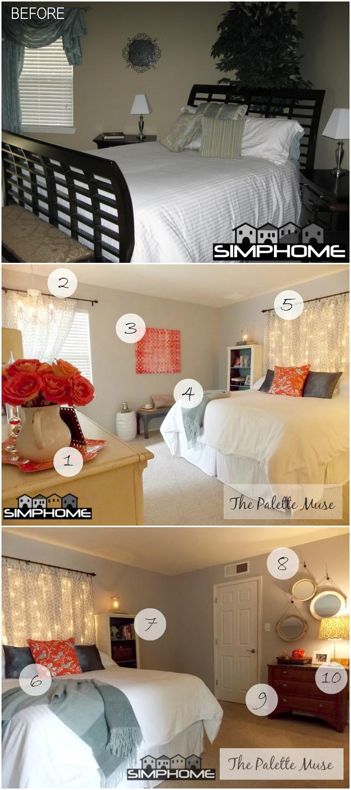 8.Redo Bedroom for Cheap via Simphome.com