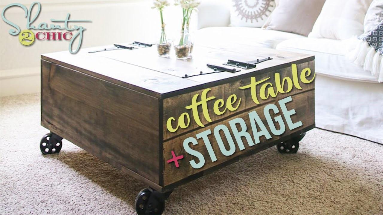 9.DIY coffee table with storage idea via simphome.com
