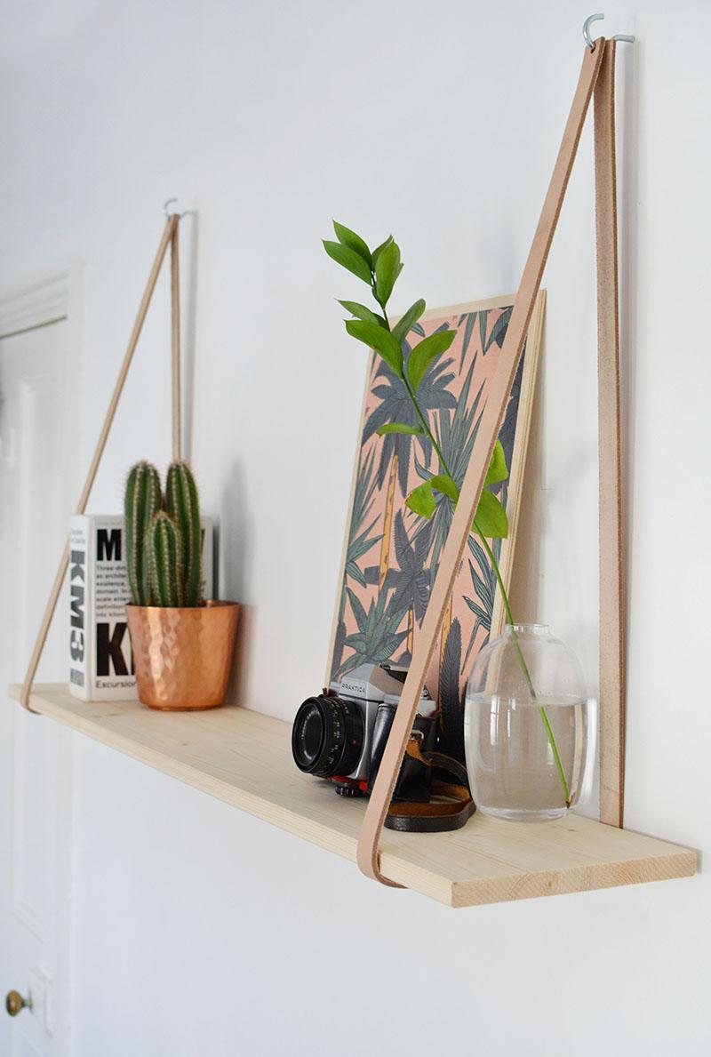 9.Hanging Shelf Simphome.com burkatron diy leather strap shelf
