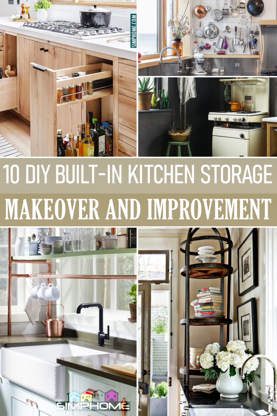 10 DIY Built In Kitchen Storage Ideas via Simphome.comFeatured