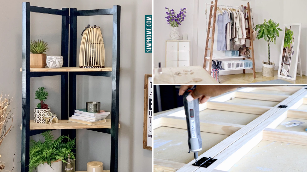 10 DIY Ladder Project Ideas for Your Bedroom Bathroom and Kitchen via Simphome.comThumbnail