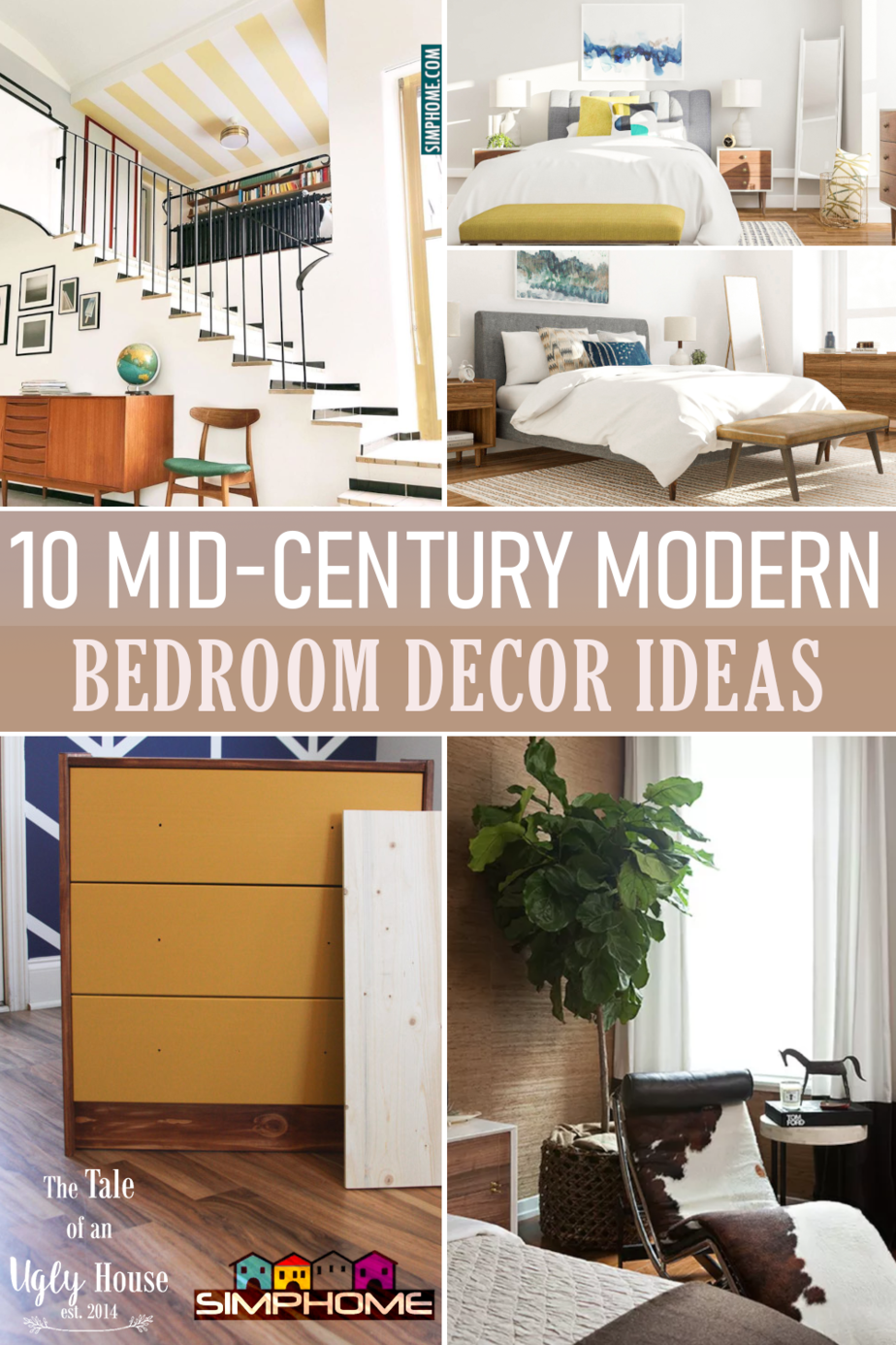 10 Mid century Modern Bedroom Decor Ideas via Simphome.com Featured Image