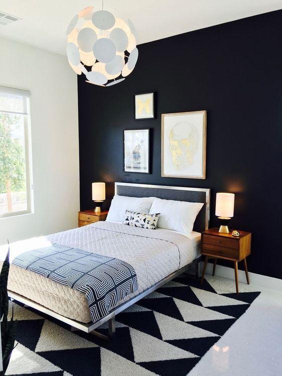 10.Geometric Carpet Combined with Black via Simphome.com