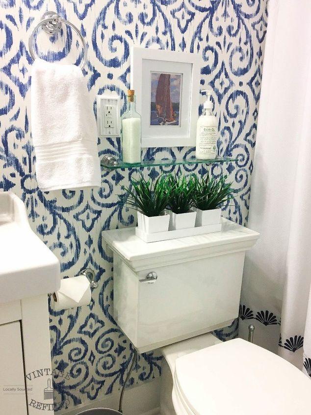 11.Blue and white bathroom makeover By Simphome.com