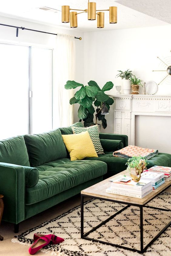 3.A Large Sectional Green and Compact Chairs for Compact Space via Simphome.com