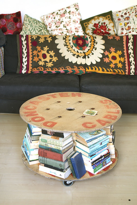 4.Spool Coffee Table with Wheels via Simphome.com