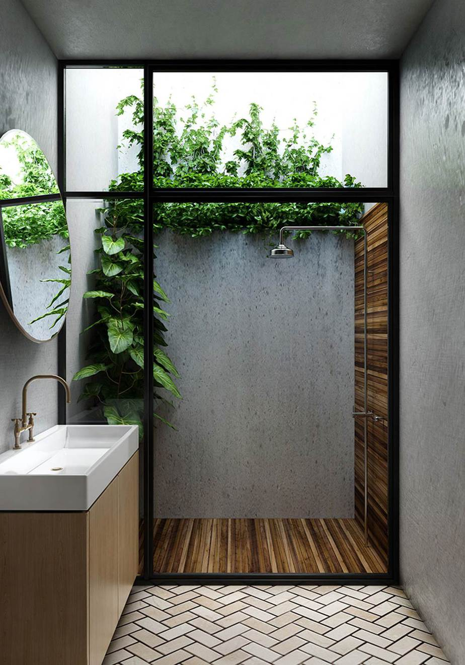 5.Natural Bathroom with plants By Simphome.com
