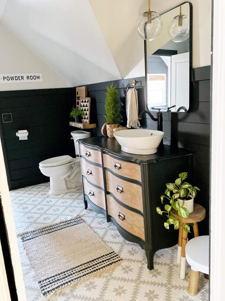 7.Painted Ceramic Bathroom Floor By Simphome.com