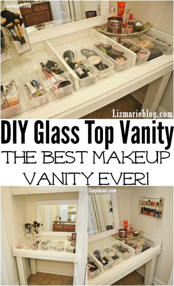 8.DIY Glass Top Vanity Ideas via Simphome.com
