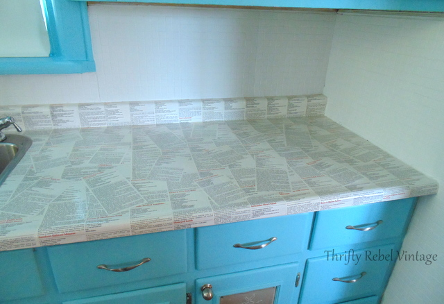 8.Decoupage your counter and make it look cooler via Simphome.com Result