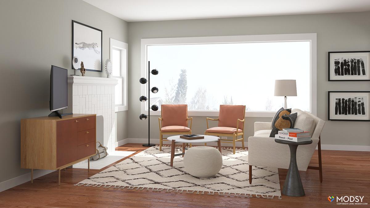 9.Place Your TV next to the Fireplace via Simphome.com