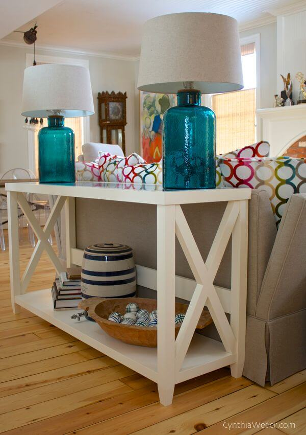 9.Sofa Table with Simple Cabinet idea via Simphome.com