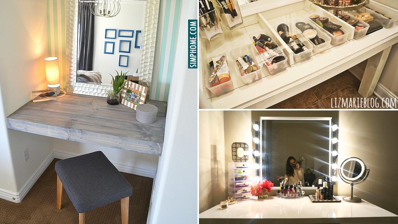DIY Bedroom Vanity Makeover Ideas via Simphome.com