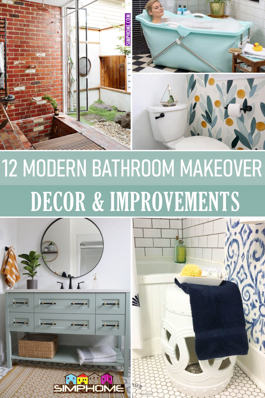 Modern Bathroom Makeovers via Simphome.comFeatured Poster image