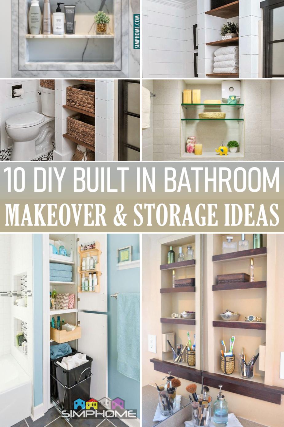 10 DIY Built in Bathroom Storage Ideas via Simphome.comFeatured