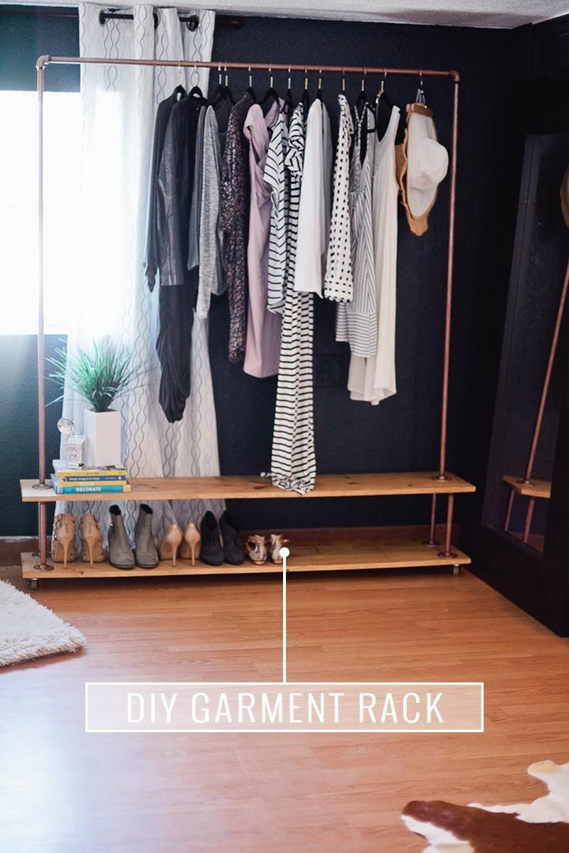 10. A Rolling DIY Garment Rack for Your Wardrobe by simphome.com