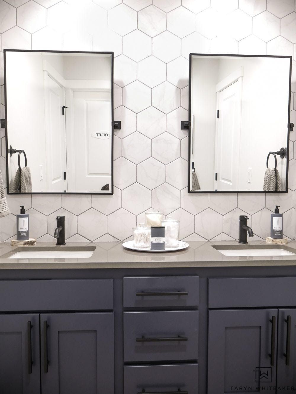 10. Double sink bathroom vanity makeover by simphome.com