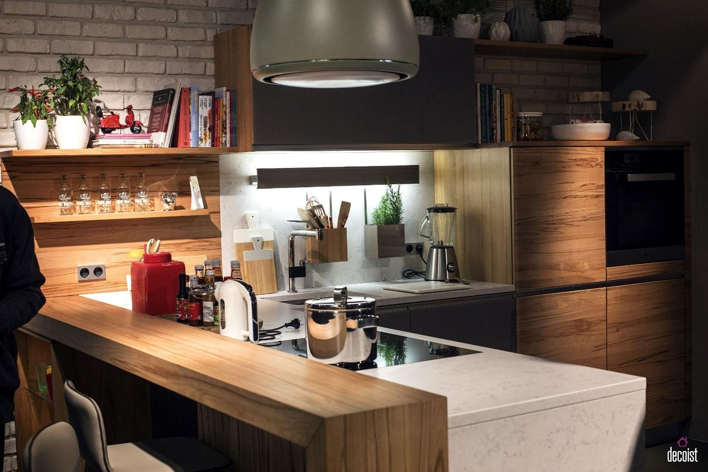 10. Trendy Wooden Breakfast Bar by simphome.com