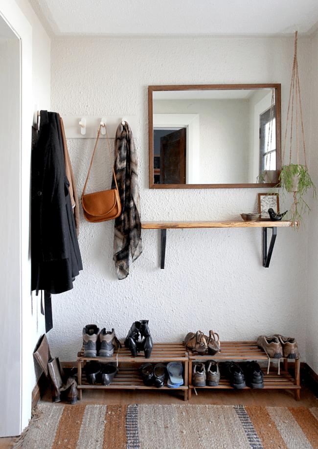 11. DIY Wooden Peg Coat Rack Idea by simphome.com