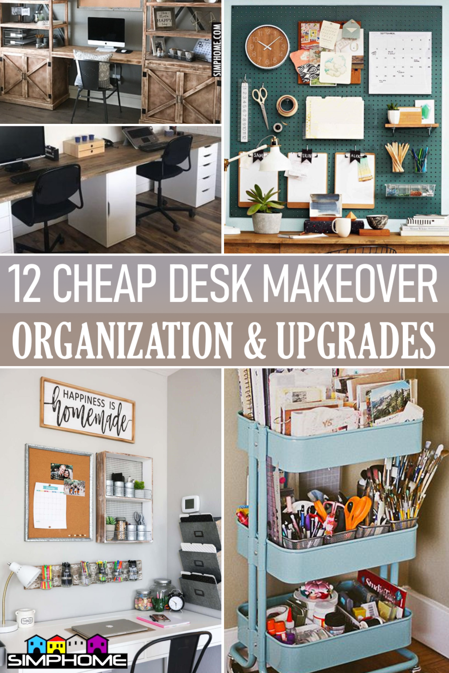 12 Cheap Desk organization ideas via Simphome.comFeatured
