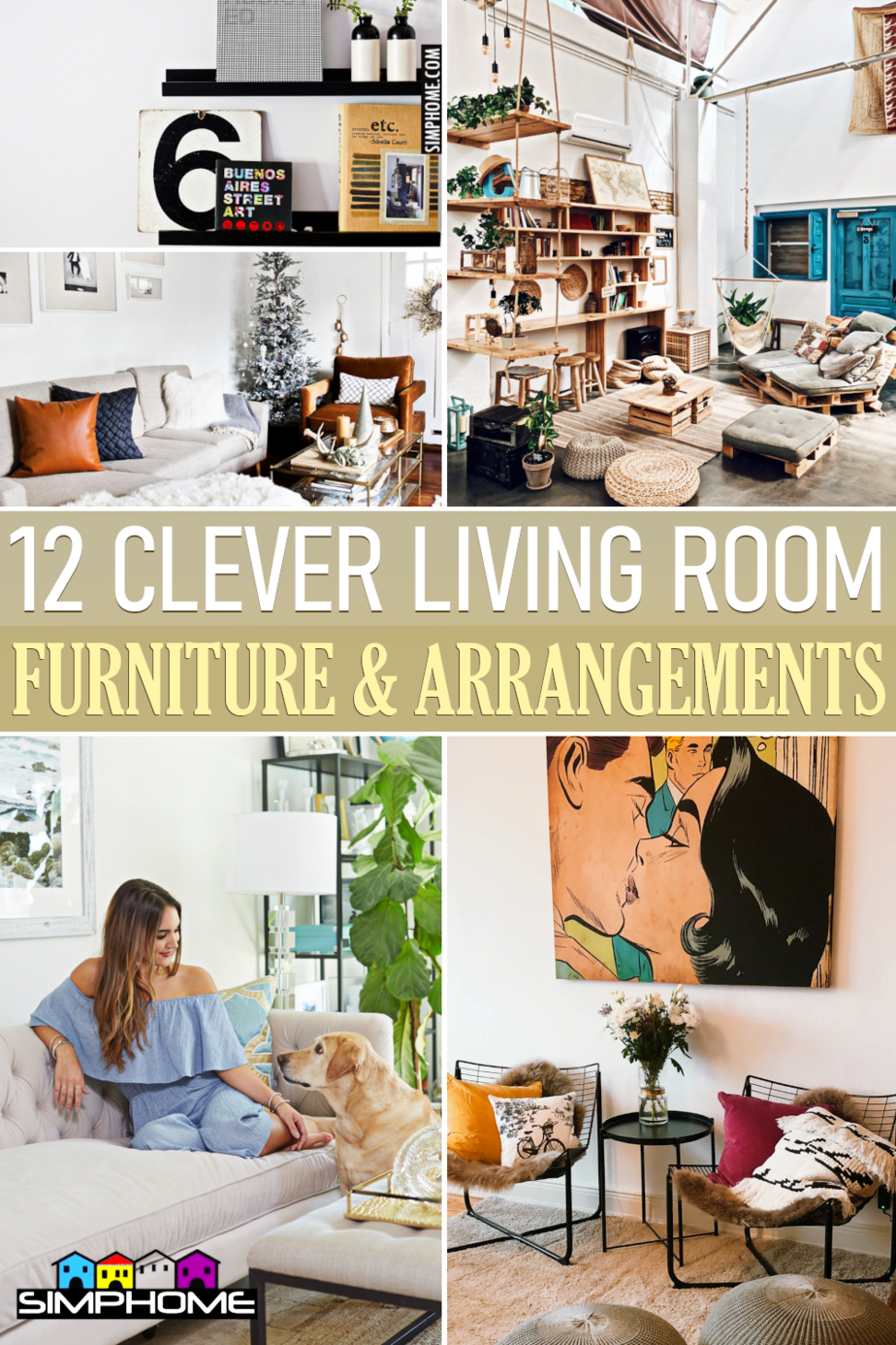 12 Clever Living Room Furniture Ideas and Arrangement via Simphome.comFeatured
