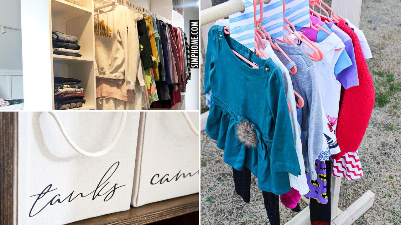 12 DIY Bedroom Clothes Furniture and Garment Organization via Simphome.comBlog thumbnail