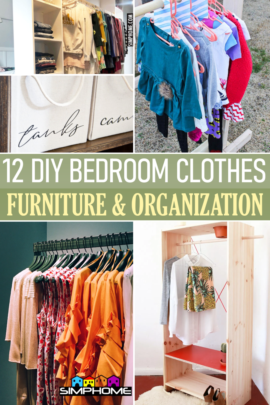 12 DIY Bedroom Clothes Furniture and Garment Organization via Simphome.comFeatured