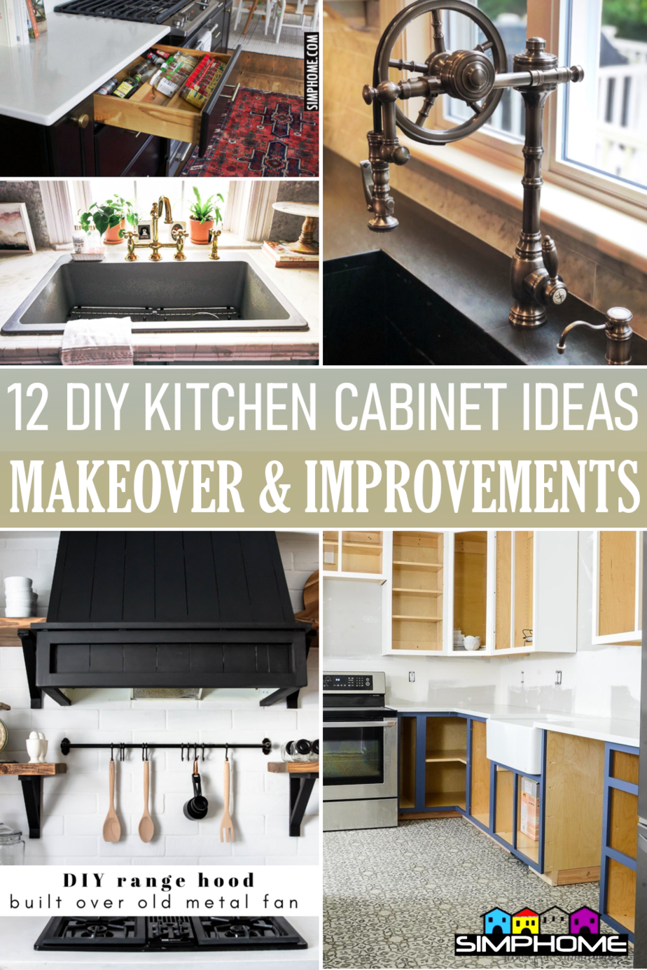 12 Kitchen Cabinet DIY Makeover Ideas via Simphome.comFeatured