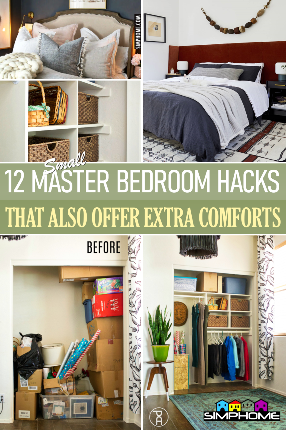 12 Small Master Bedroom Makeover Ideas via Simphome.comFeatured