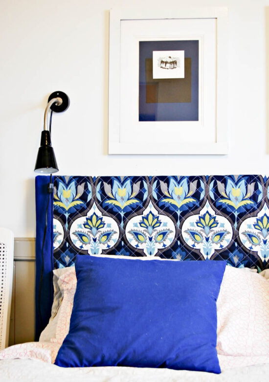 12. Make A DIY Wall Mounted Fabric Headboard To Maximize Space by simphome.com