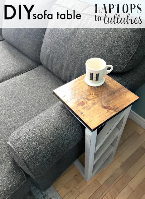 2. A DIY slim sofa table idea by simphome.com