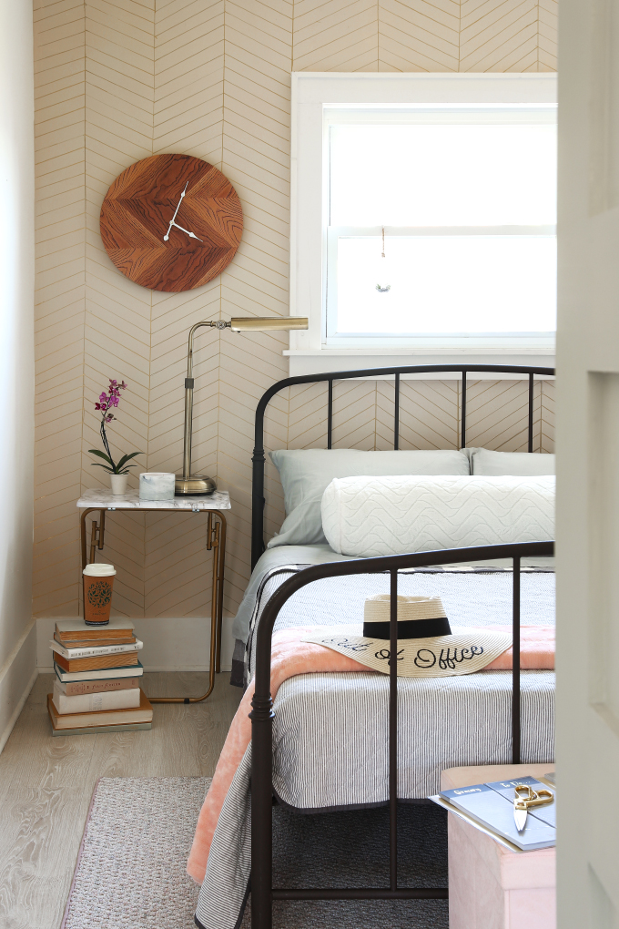 2. DIY Gold Chevron Wall and Small Room Makeover