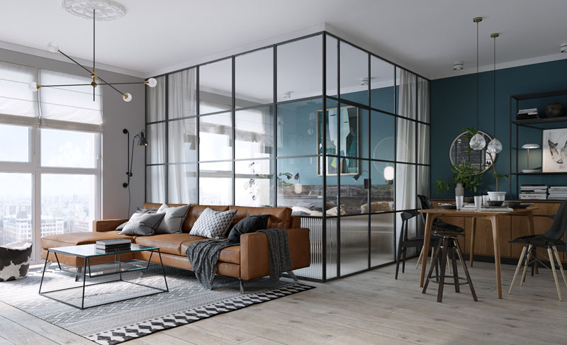 2. For Studio Spaces Replace Walls and Doors With Glass by simphome.com