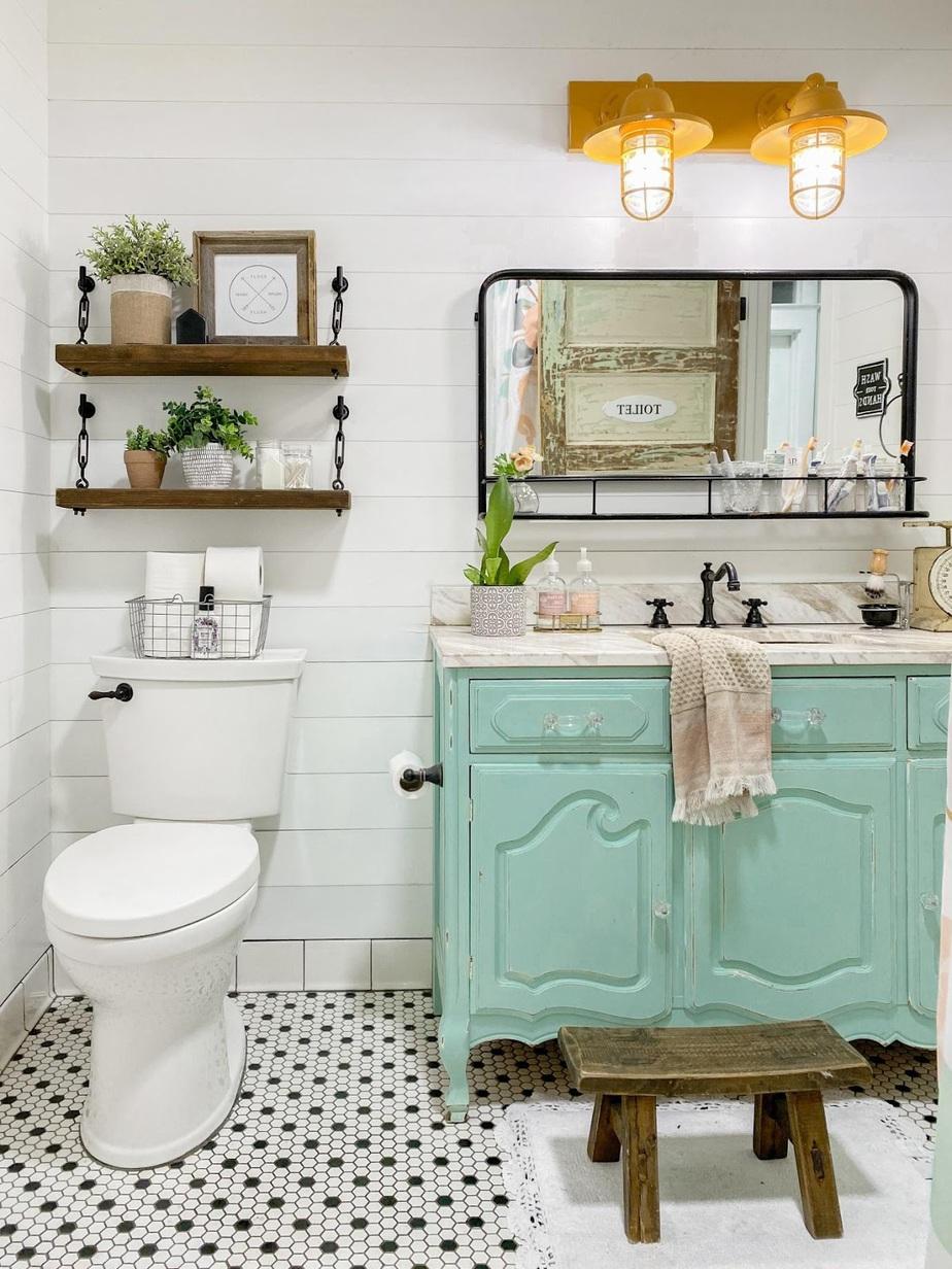 2. Vintage dresser to bathroom vanity by simphome.com
