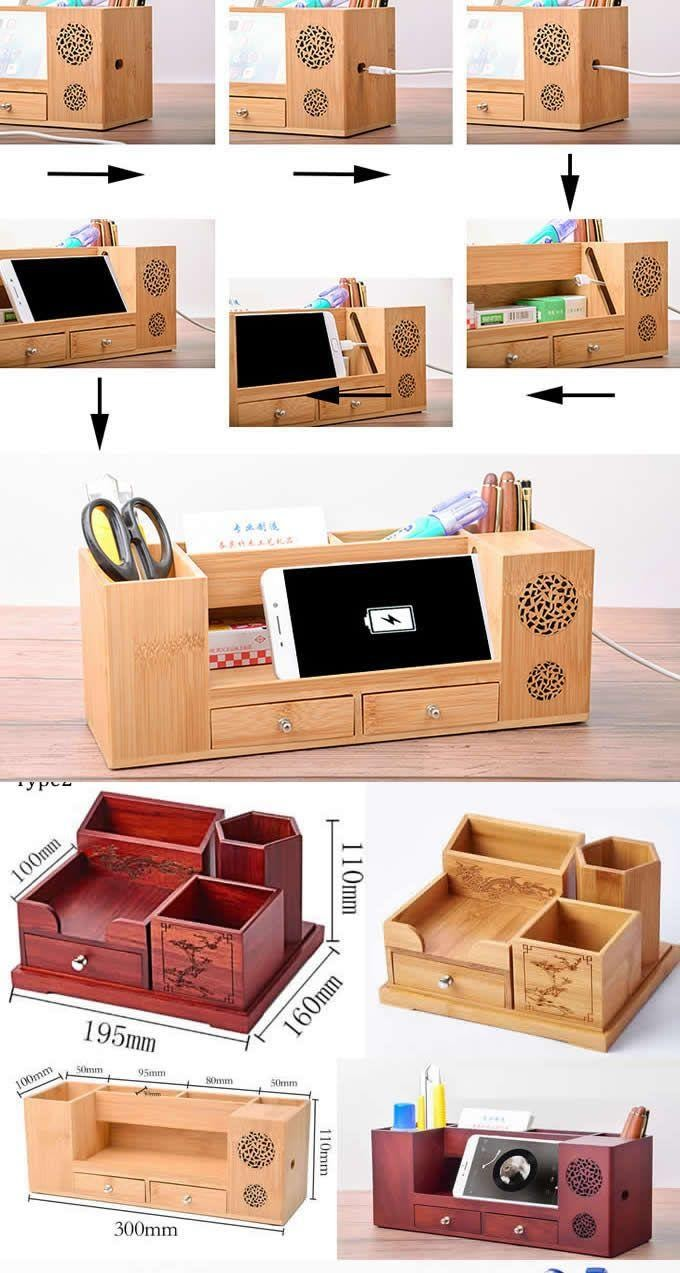 3. Creative DIY desk organizer ideas to make your desk cute wooden by simphome.com