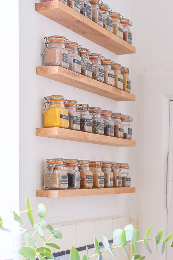 3. Perfect it with this sweet DIY floating spice rack by simphome.com
