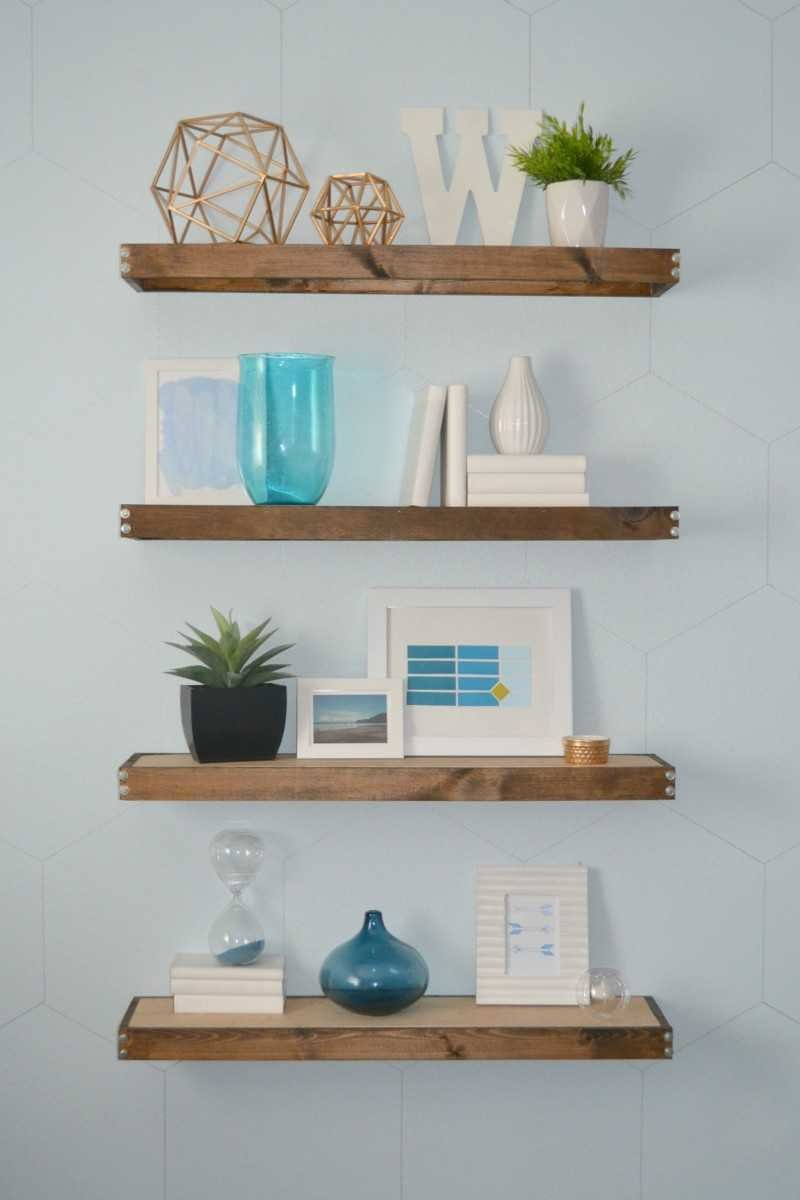 4. DIY rustic modern floating shelves by simphome.com