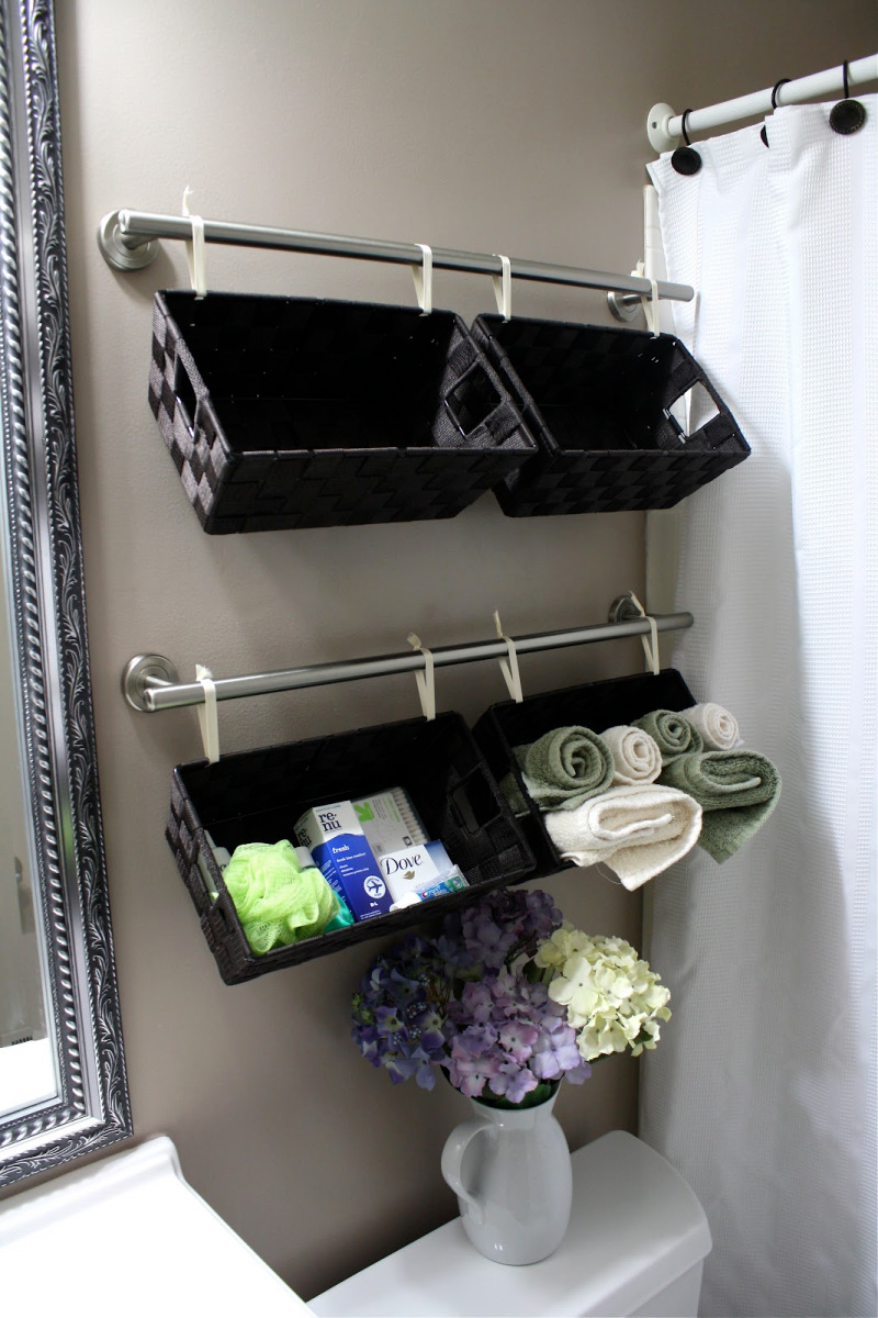 4. or this towel rod hanging basket by simphome.com