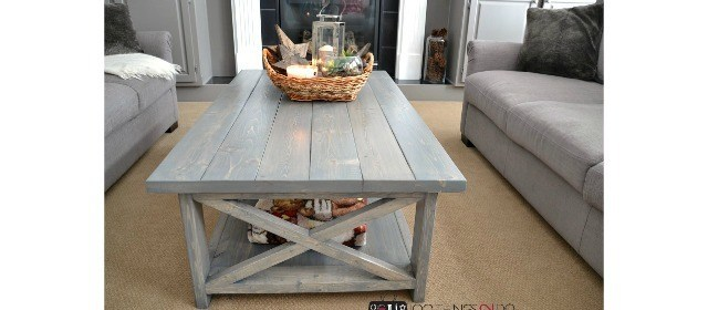 5. DIY rustic X coffe table project idea by simphome.com