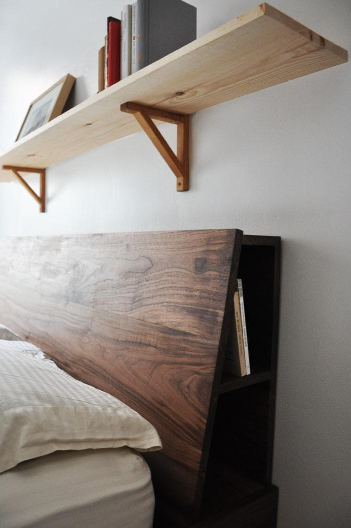 6. A Wooden Storage Headboard Made with Walnut and Love by simphome.com
