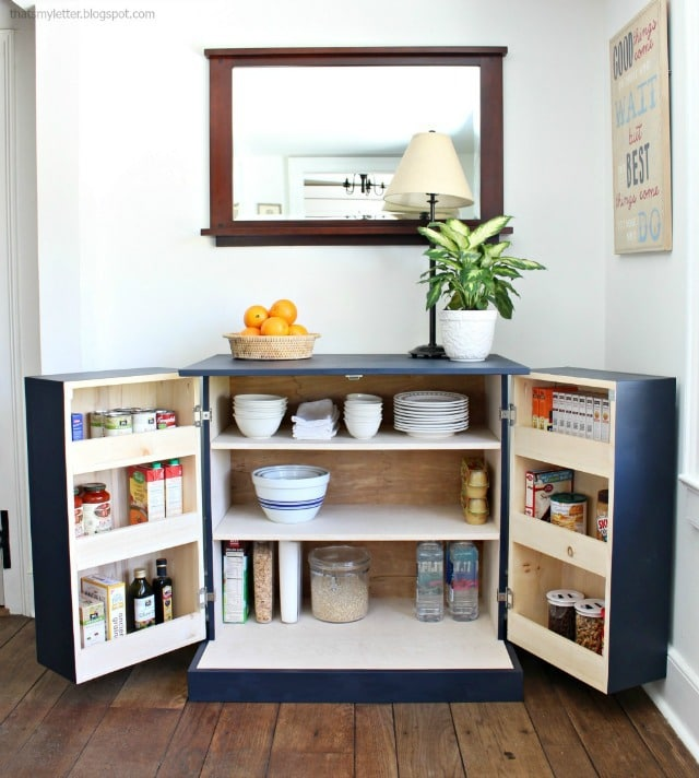 6. Craft this unique DIY FREESTANDING KITCHEN PANTRY CABINET by simphome.com