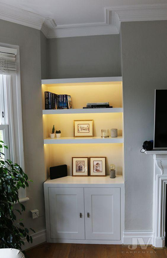 6. best alcove shelving for living room with light by simphome.com