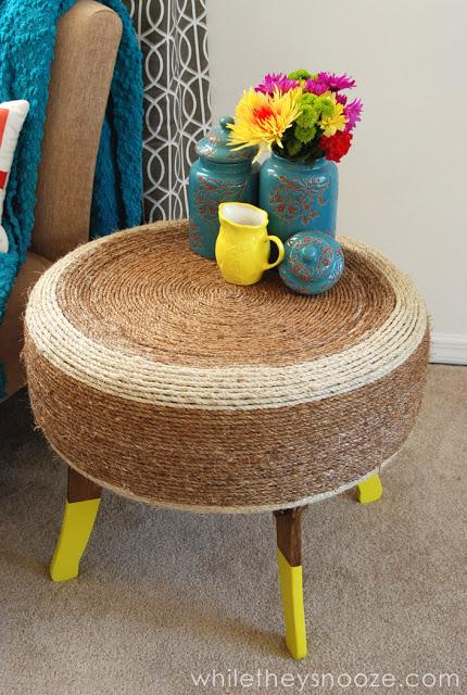 7. A hidden tire coffee table idea by simphome.com
