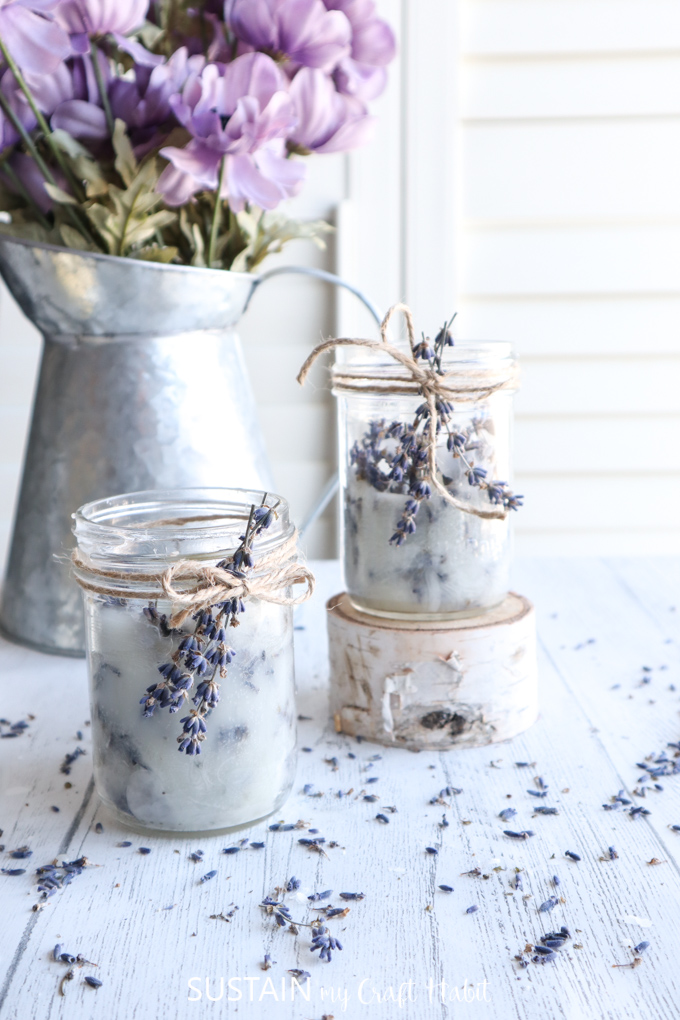 8. DIY Mason Jar Candles with Lavender by simphome.com