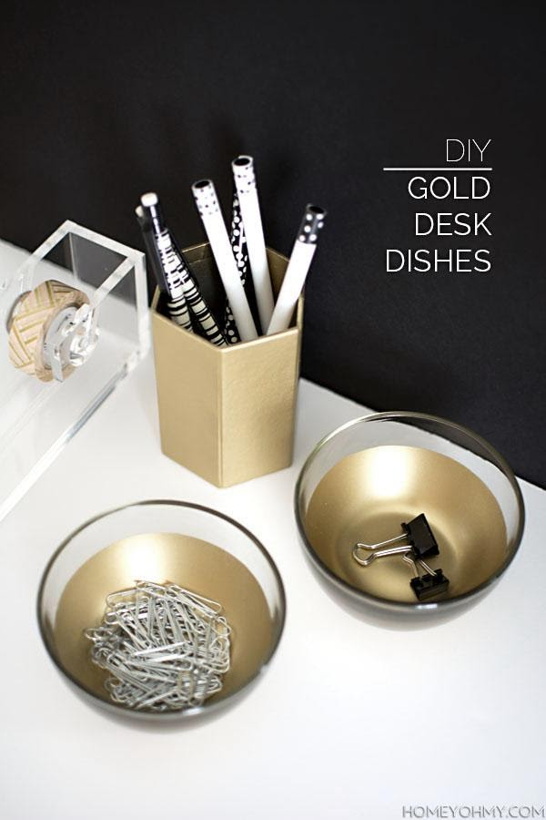 9. Lovely DIY golden desk dishes by simphome.com