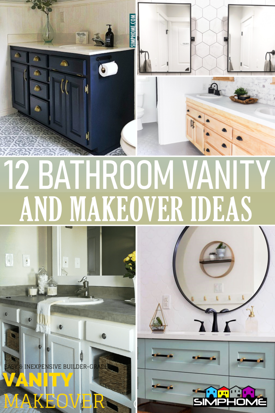 Bathroom vanity makeover ideas via Simphome.comFeatured